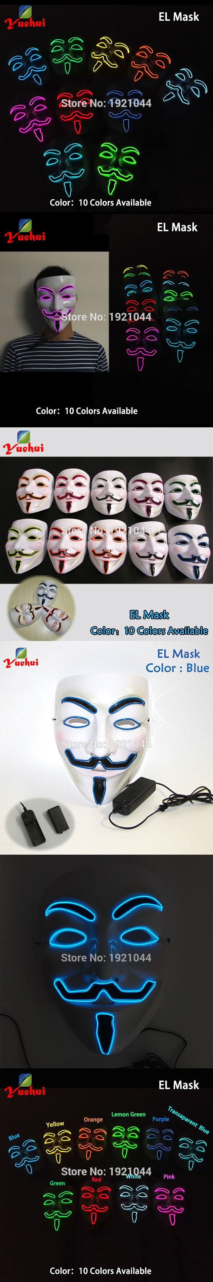 10 COLORS Choice NEW Fashion Flashing EL wire Vendetta mask Fashion Classic V for VENDETTA Halloween Cosplay Costume MASK