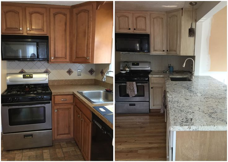Before and after when I bought the house until now.  Painted the cabinets, took down a wall, put in granite countertops, and hardwood was underneath the vinyl flooring.