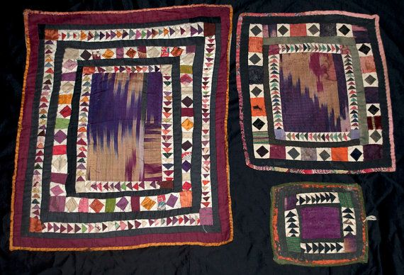 Tribal Antique Pieced Cotton and Silk Patchwork Textile Grouping - Beautiful, colorful first half of the 20th century hand pieced tribal textiles from Central Asia. In very good condition, these small patchwork pieces have magnificent detail and color with wonderful handwork and examples of silk ikat fabrics.
