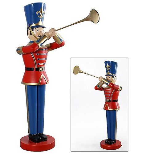 Solider Toy Trumpet Life Size Resin Christmas Statue