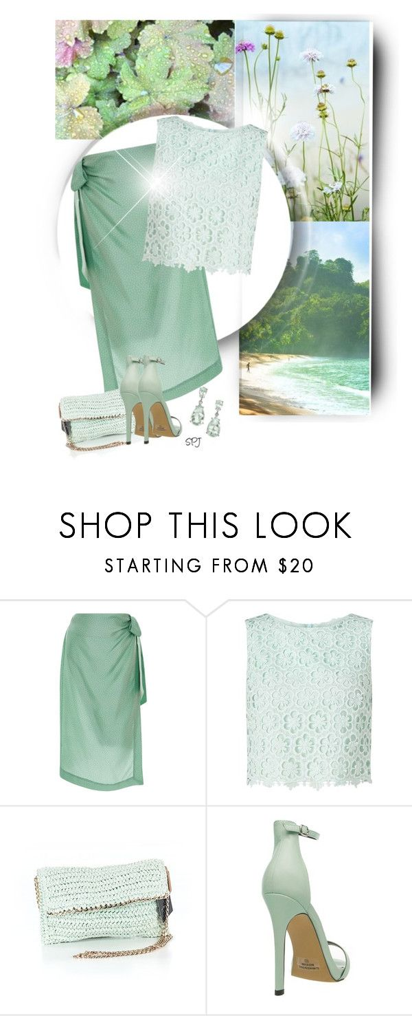 """""""Mint Green Skirt"""" by s-p-j ❤ liked on Polyvore featuring Cult Gaia, Miss Selfridge and Saks Fifth Avenue"""