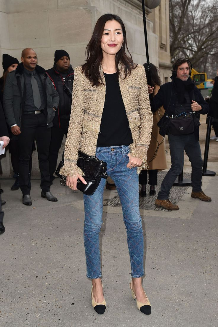 The classy look with few good details (quilted jeans, tone in tone blazer and shoes) to make it less boaring and add something for the eye, that just makes you smile. Liu Wen in Chanel.
