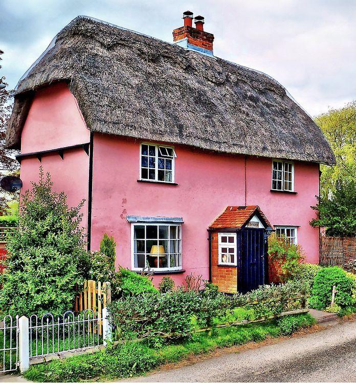 Pretty Pink Cottage at Belchamp Otten, Essex - England. Bruce Hatton