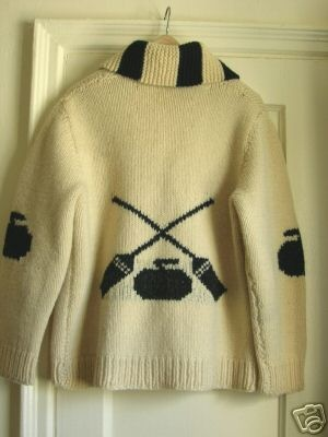 Cowichan style cardigan with curling design.