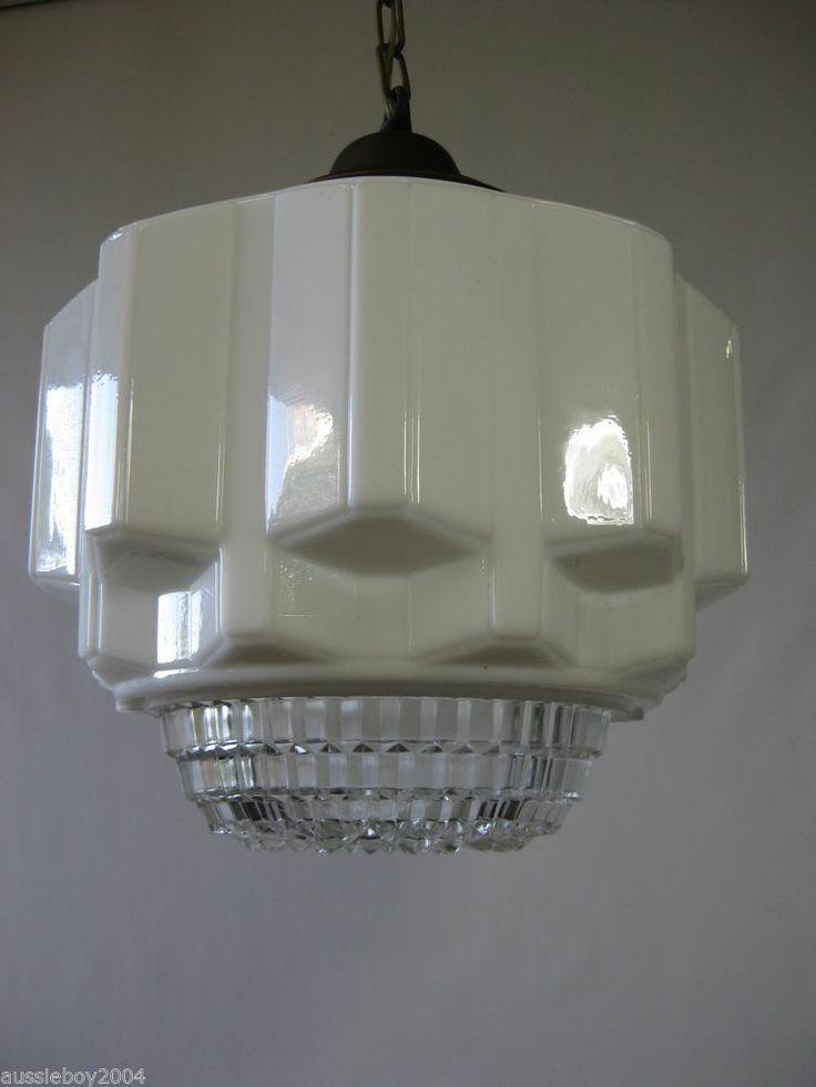 vintage industrial skyscraper art deco milk glass shade defuser emp. Black Bedroom Furniture Sets. Home Design Ideas