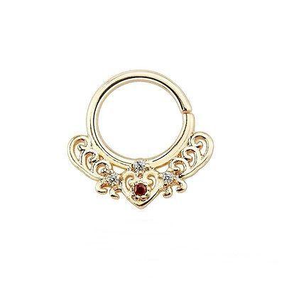 "Septum Nose Rose Gold Plate Fancy w/Clear/Red Gems Annealed 16 Gauge 3/8"" Brass"