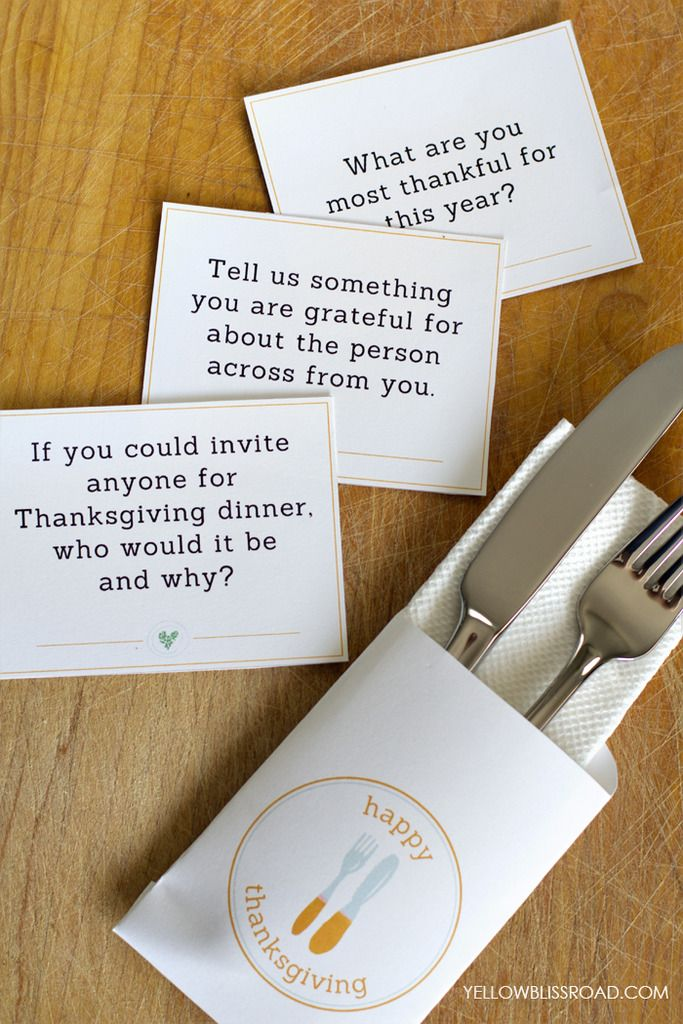 Fun, free Thanksgiving printables: Conversation starter cards + a cute utensil holder | Yellow Bliss Road