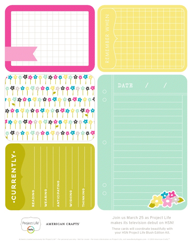 Free Project Life printable honey Becky Higgines #ProjectLife