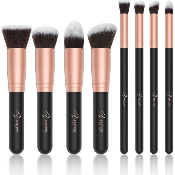 BESTOPE Makeup Brushes Premium Cosmetic Makeup Brush Set Synthetic... (110 SEK) ❤ liked on Polyvore featuring beauty products, makeup, makeup tools, makeup brushes, contour makeup brush and contour brush