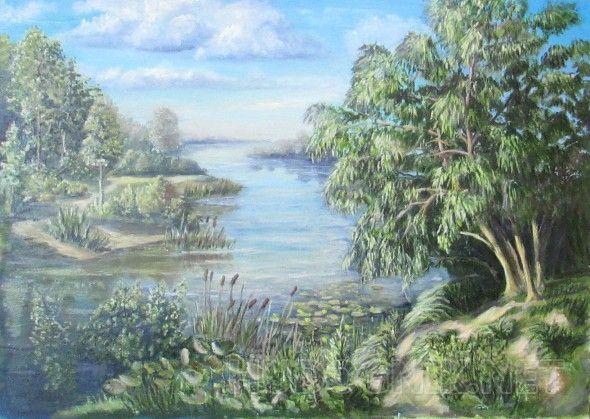Синие глаза лета Река пейзаж с рекой и ива над рекой
