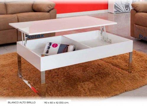 Mesa centro moderna elevable lacado blanco, con patas
