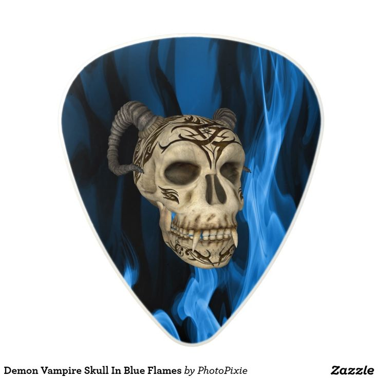 Demon Vampire Skull In Blue Flames