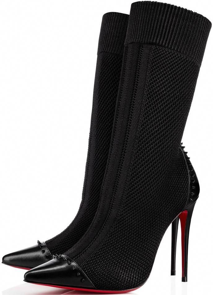 5a34636eb56b Christian Louboutin  Dovi Dova  100 studded leather-trimmed stretch-knit  sock boots