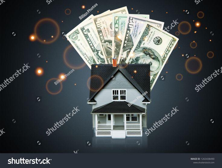 Dollar bills and house model on light background h…