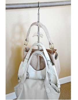 Zia swivel handbag holder purse hanger closet hanger for - Handbag hanger for closet ...