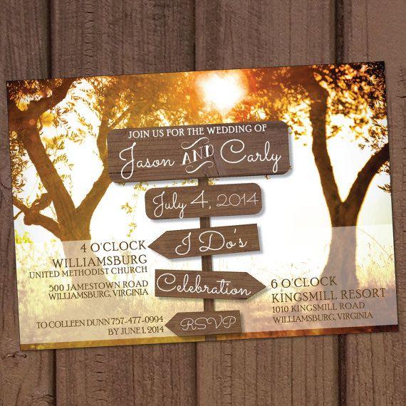 Country/Farm Wooden Signs Wedding Invitation by Aurora Graphic Studio's Invitation Line: Aurora Invited  https://www.etsy.com/listing/177995531/countryfarm-wooden-signs-wedding?