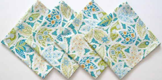 Love these. Cloth Napkins Set of 4 Teal Green Orange Leaves by ClearSkyHome