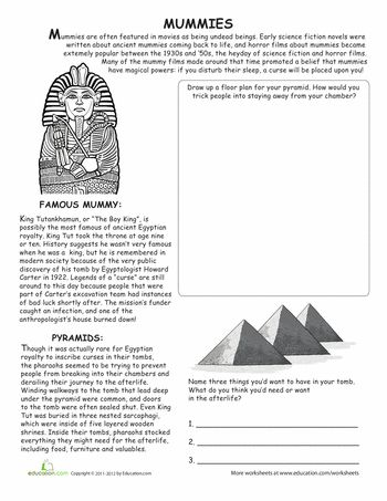 Worksheets: All About Mummies. Perfect for Halloween!