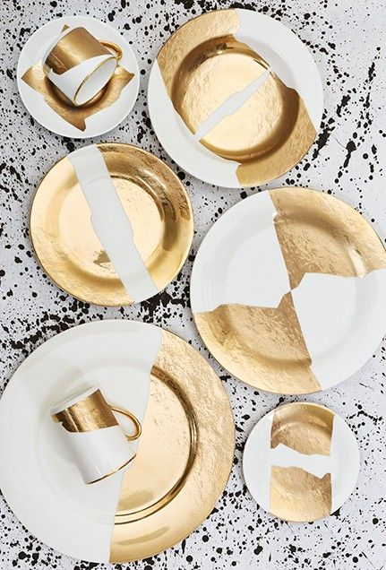 Gold collection designed for Pickard China by celebrity interior designer Kelly Wearstler