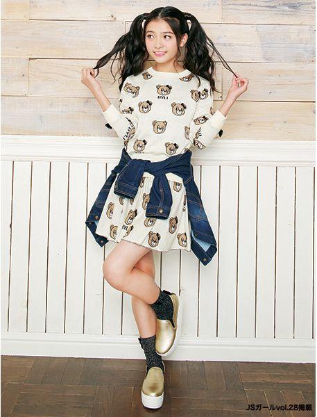 クマさん柄ジャカードがキュート♡ ☆小学生ファッション スタイルの参考コーデ☆