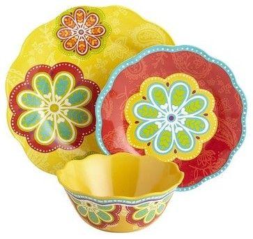 Sunny Floral Melamine Dinnerware contemporary dinnerware sets