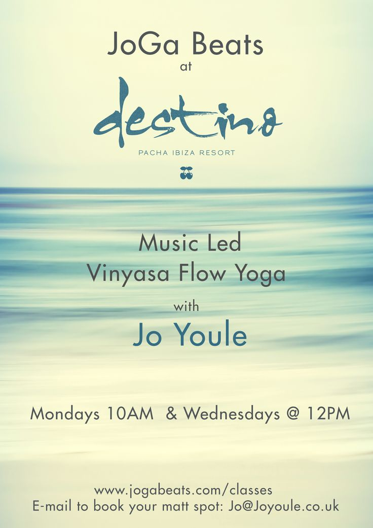 Brand new classes starting @ Destino in Ibiza this Monday 9 June  2014. Such a music forward venue, it seemd the right spot to have fused my classes and Jogini vibes for this summer 2014. Hope to see some of you lovelies there.....rest of summer schedule here:  www.joagbeats.com/classes