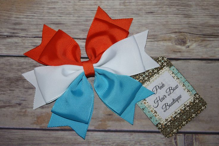 Cheer Bow , turquoise white orange , team hair bow , baseball hair bow , school hair bow , spirit hair bow , build your own bow by PinkHairBowBoutique on Etsy https://www.etsy.com/listing/291930805/cheer-bow-turquoise-white-orange-team