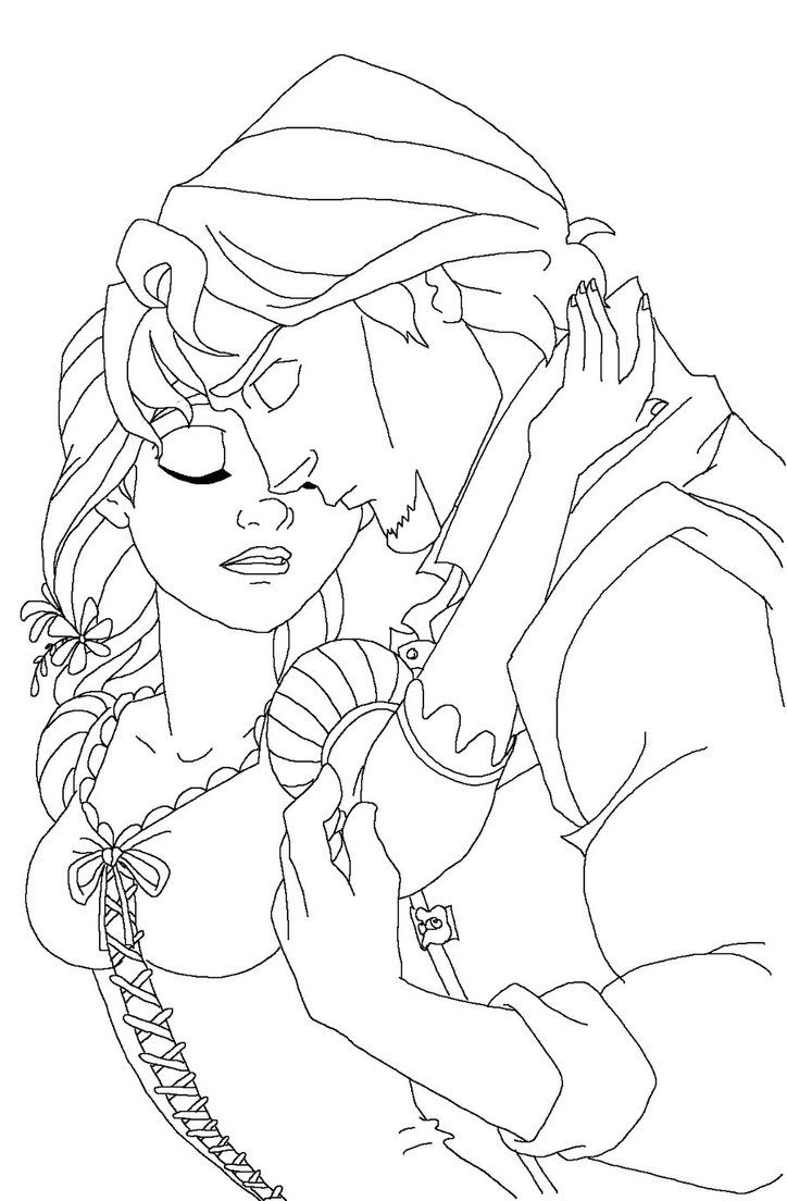 Rapunzel pages to color - Rapunzel Wedding Coloring Papges Download Flynn Coloring Pages At 724 X 1104 Resolution