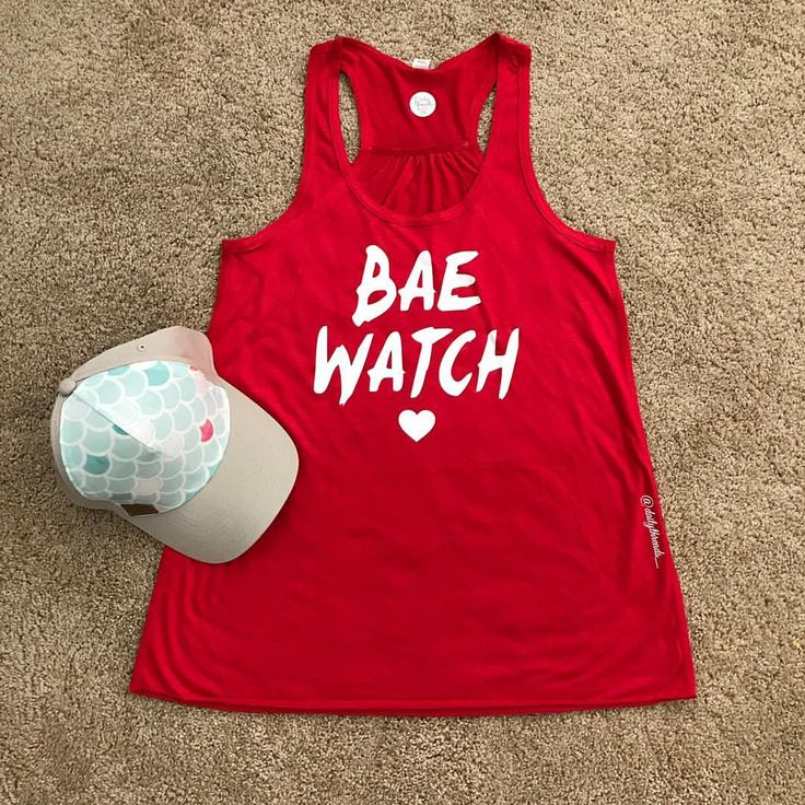 """INSTAGRAM: Daily Threads By Dina • (@dailythreads_) • V A C A Y • . Featuring my """"Bae Watch"""" Women's Red Flowy Tank! Don't forget to have your littles match you in my red sleeveless leotard!!🙌🏻 . ❤️ Tag some Friends that would Love this! ❤️ . SHOP: 👇🏻 TheDailyThreads.etsy.com #bae #beach #baewatch #baywatch"""