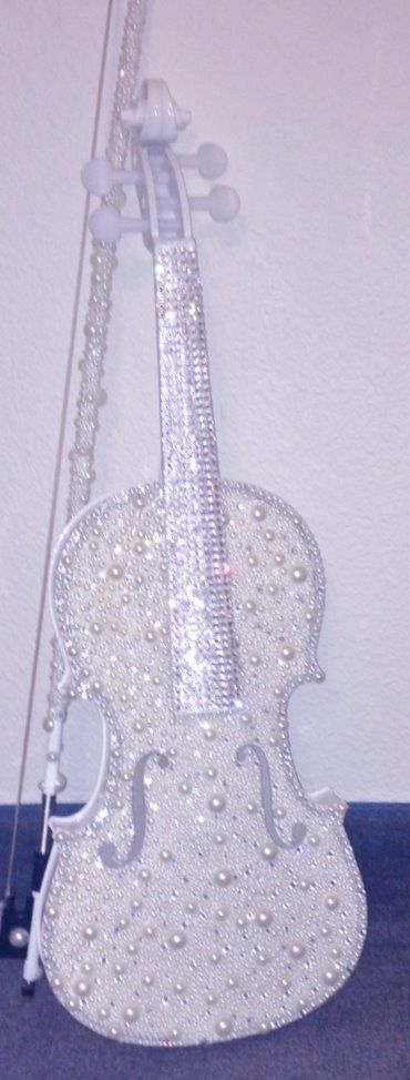 Pearl and crystal violin and bow