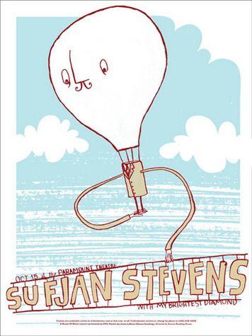 Sufjan Stevens Concert Poster at the Paramount Theatre - Oct 15, 2006