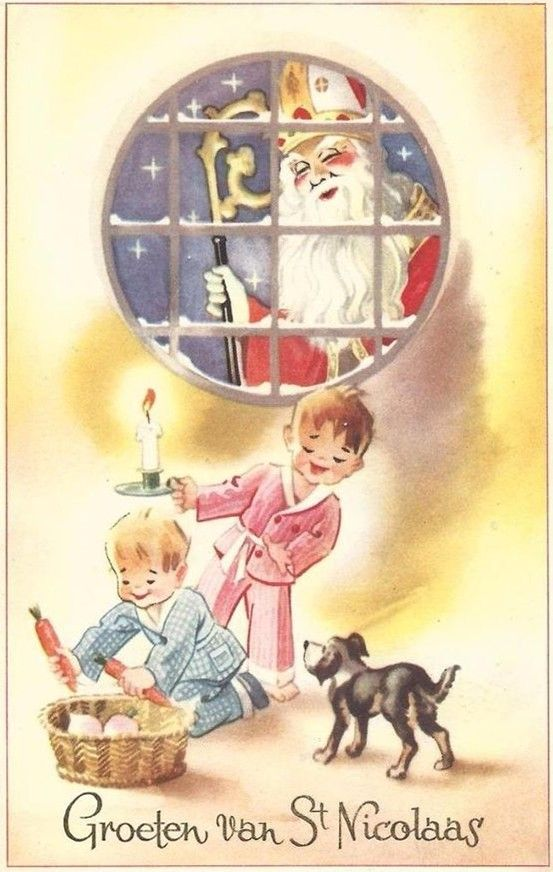Oude ansichtkaart : Groeten van St Nicolaas