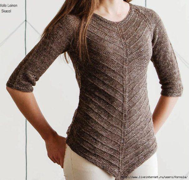 Интересный пуловер (Вязание спицами) | Журнал Вдохновение Рукодельницы