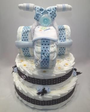 Tricycle diaper cake, unique baby shower gift ideas for baby boy by Laurie Knigge
