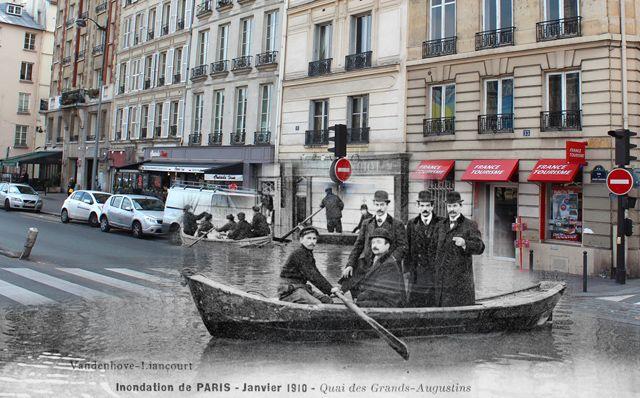 Le quai des Grands-Augustins, noyée lors de la crue de Paris en 1910 qui a vu une bonne partie de la capitale être sous l'eau (Crédit Image : Golem 13)