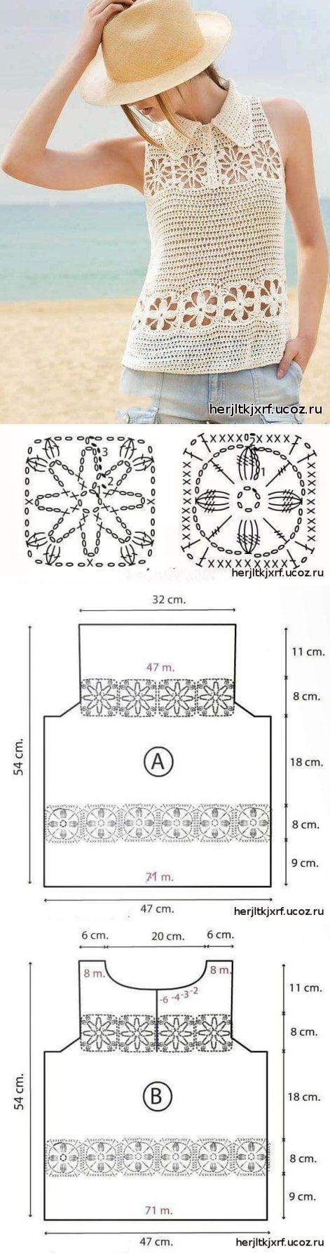 Top de los motivos - koftochki.mayki topy. - la labor de punto por el gancho para las mujeres. - el catálogo de los ficheros - el Estudio De diseño de los productos tejidos.