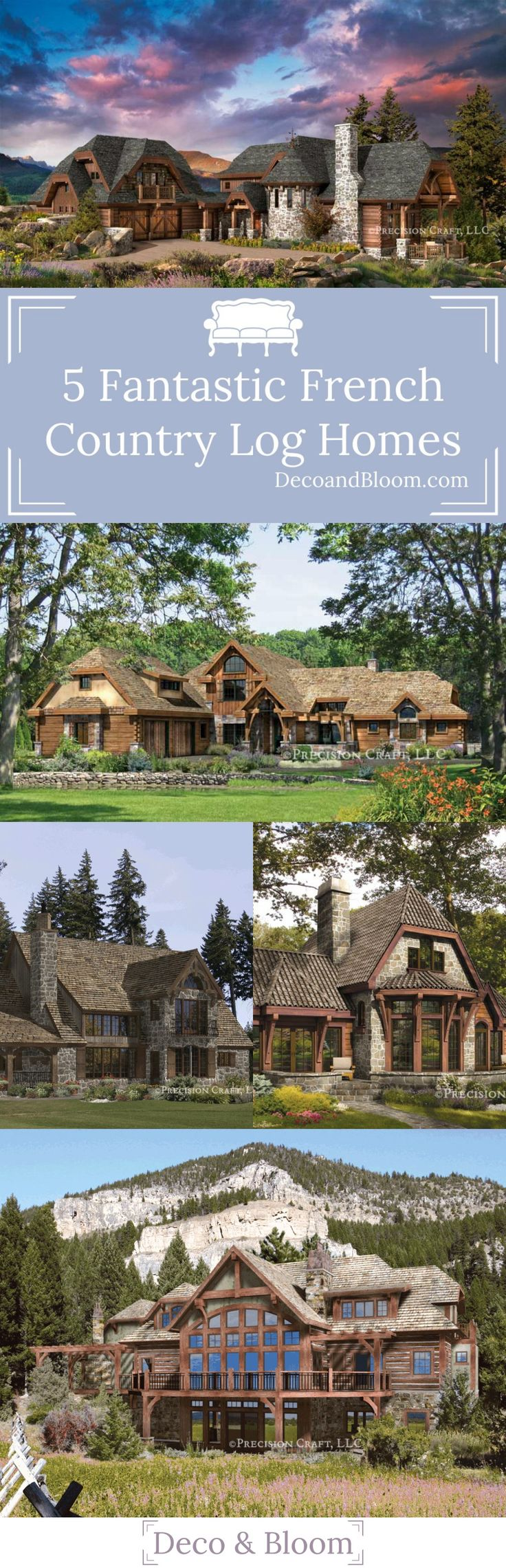 5 Fantastic French Country Log Homes Under $1M - From the Home Decor Discovery Community at www.DecoandBloom.com