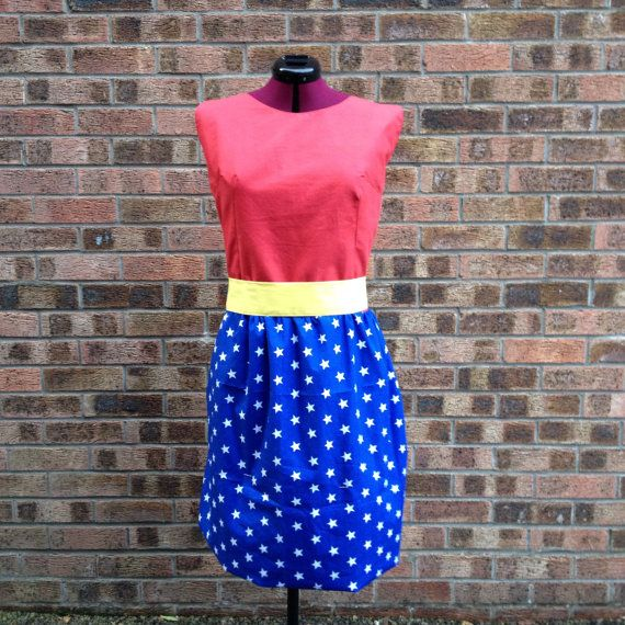 Superhero dress, handmade to order Red cotton top with a shirred stretchy back, blue skirt with white stars and a separate yellow cotton sash
