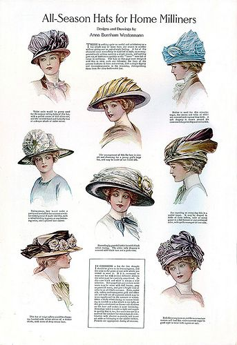 Fashionable hats, published in the January 1911 issue of Ladies Home Journal.