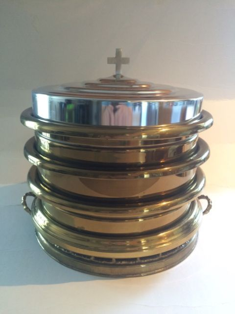 Vintage Brass Communion Trays Set w/ Stainless Lid Church | eBay