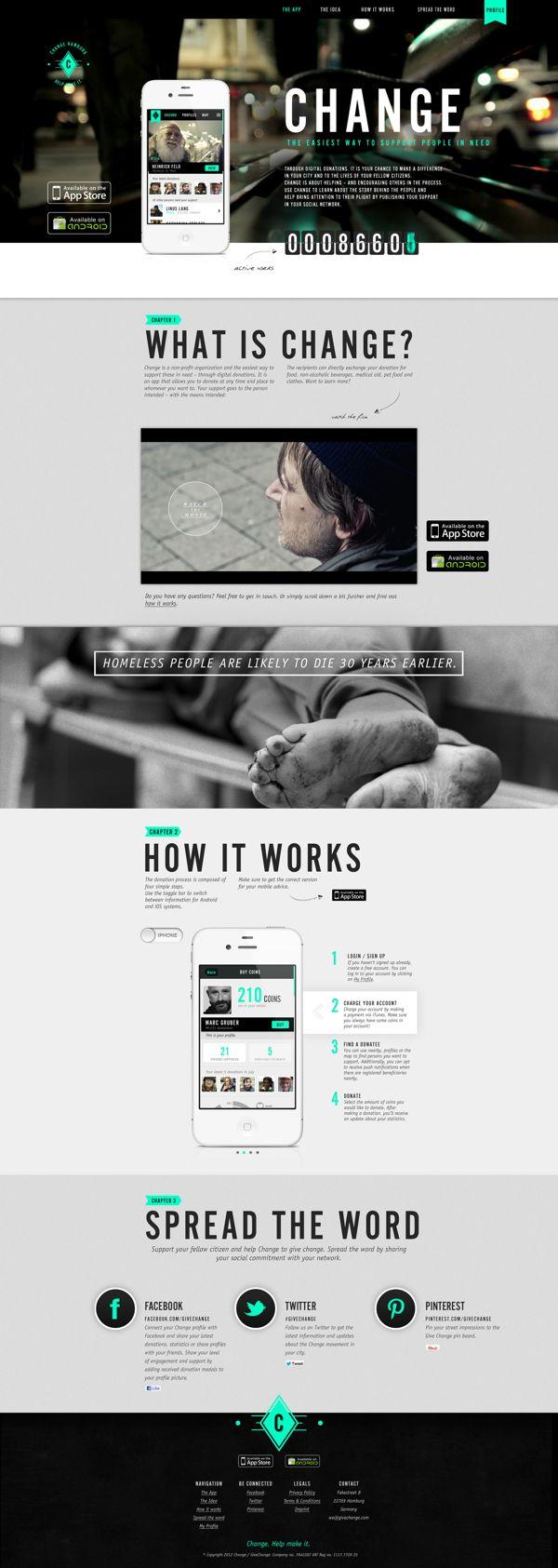 Change – Help Make It by Rebird , via Behance | #webdesign #it #web #design #layout #userinterface #website #webdesign < repinned by www.BlickeDeeler.de | Take a look at www.WebsiteDesign-Hamburg.de