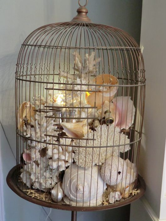 Seashells inside birdcage. Browse hundred of seashell decorating ideas on Completely Coastal here: http://www.completely-coastal.com/search/label/Seashell%20Decor