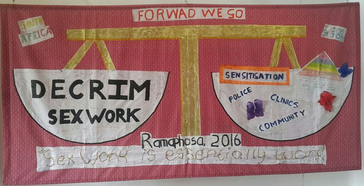 Decriminalise Sex Work. Fabric mural at Newtown Workers Museum, Johannesburg. From MOVE (Method Visual Explore), Sisonke (National Sex Workers Movement in South Aftica) and the Migration and Health Project Southern Africa (Wits)
