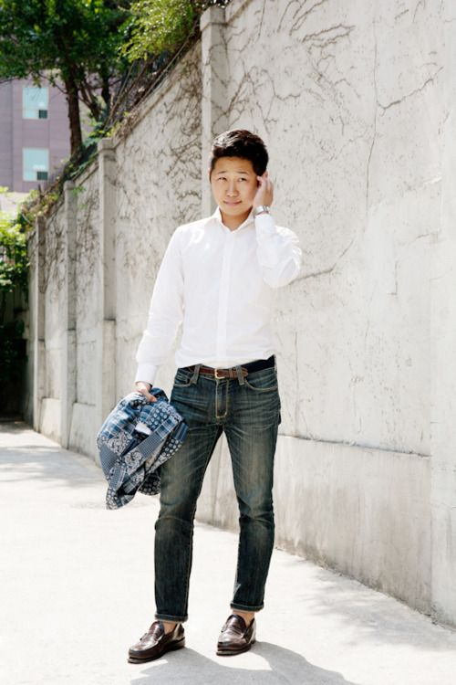 White shirt, dark jeans, penny loafers