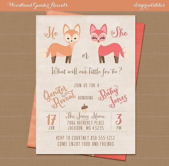 Woodlands Fall Gender Reveal / Squirrel Rustic Invitation / Baby Shower Unisex Girl Boy Printable / Chalkboard Deer Woodland Animals by sfmprintables