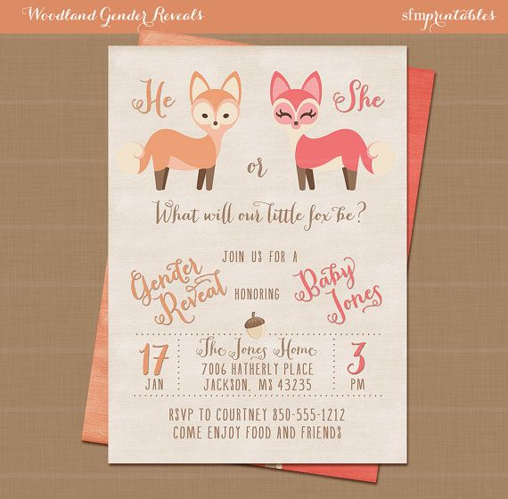 Woodlands Fall Gender Reveal / Squirrel Rustic Invitation / Baby Shower Unisex Girl Boy Printable / Chalkboard Deer Woodland Animals by sfmprintables
