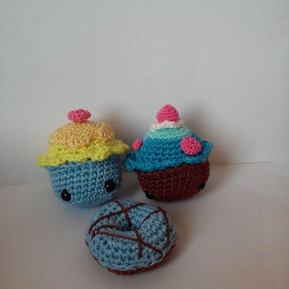 Crochet cake set without calorie by KattiiCrochet on Meska