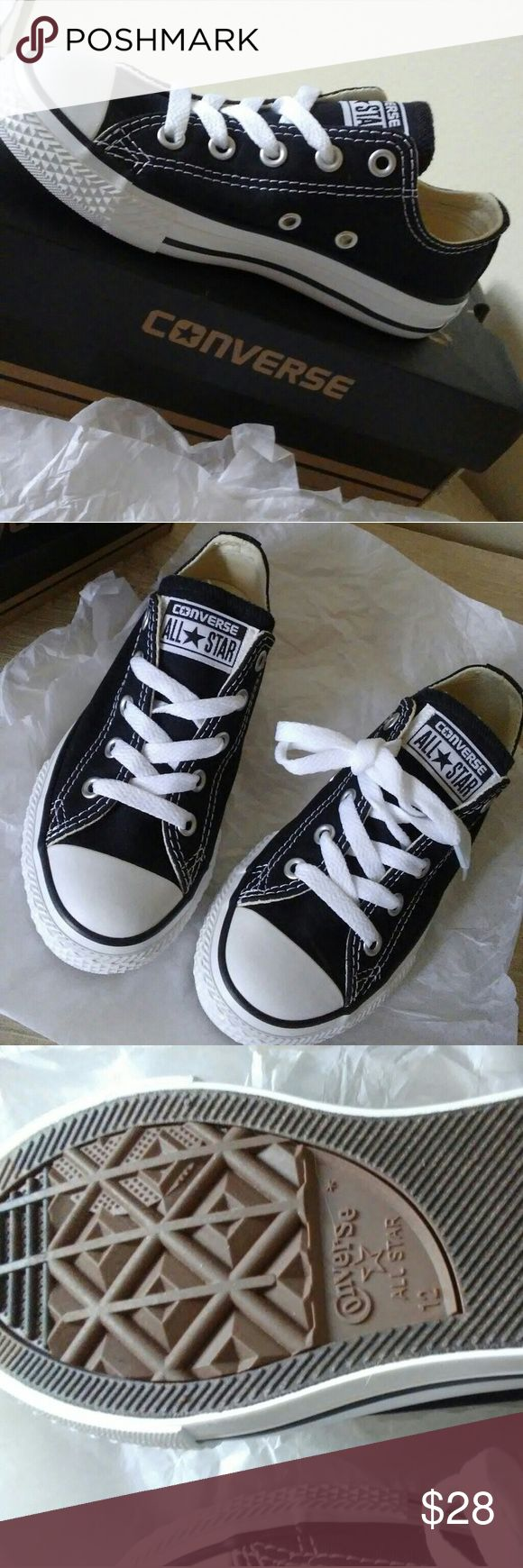✴New✴ kids Converse (Sz12) New size 12 for kids. Colors black and white new never used. New in box. Converse Shoes Sneakers