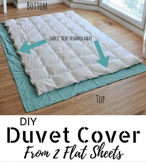 DIY Duvet Cover From Flat Sheets – an easy sewing project… #diy #sewing #duvet…