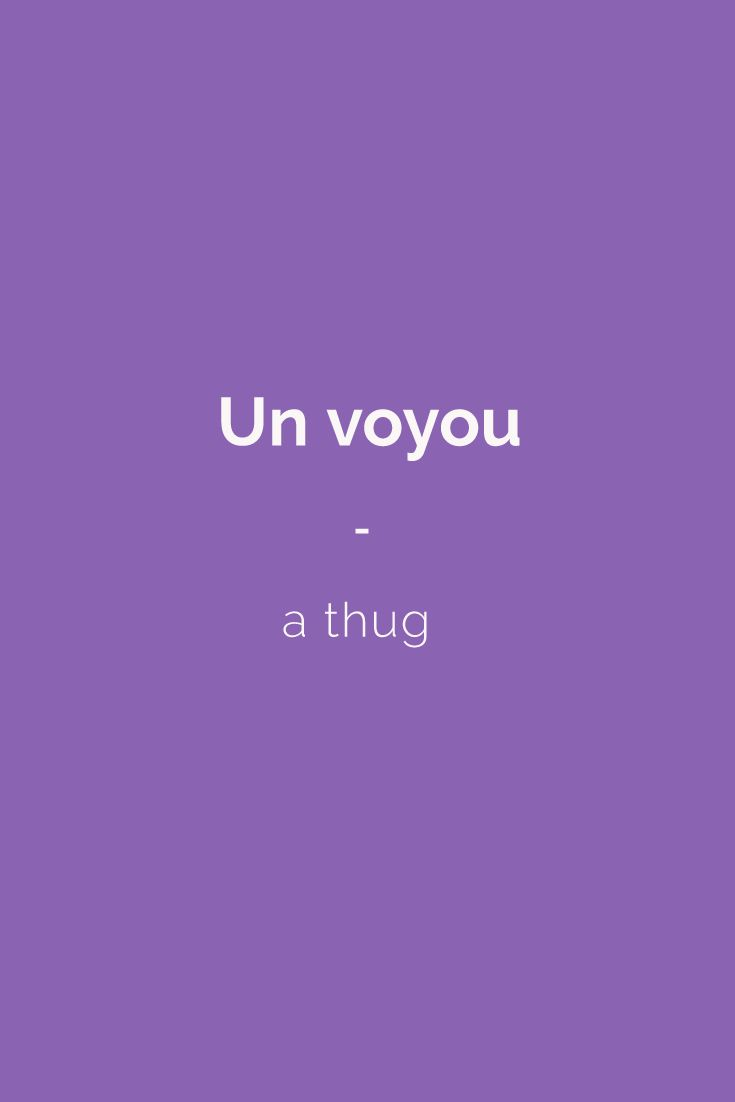 Un voyou - a thug | Find more Slang (with Audio!) in my book: ''Colloquial French'' - The most complete French Slang Ebook available. Don't hesitate to share #french #slang #words. Learn more here: https://store.talkinfrench.com/product/french-slang-ebook/